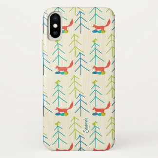 Vintage Girl Bright Colors Fox Pattern iPhone X Case