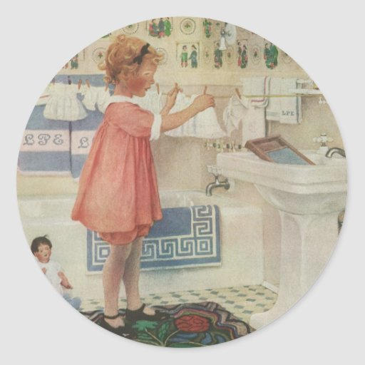 Vintage Girl, Child Doing Laundry Hanging Clothes Round Stickers