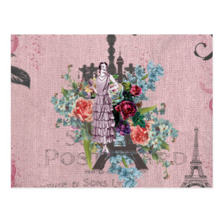 Vintage Girl Corloful Red Roses Paris Eiffel Tower Postcard