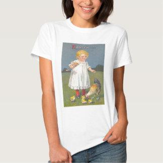 Vintage Girl Feeding Easter Chicks Easter Card T-shirts
