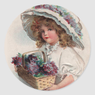 Vintage Girl in Bonnet Stickers