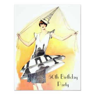 Vintage Girl in Eiffel Tower Costume 50th Birthday Card