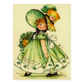 Vintage Girl in Green Post Card