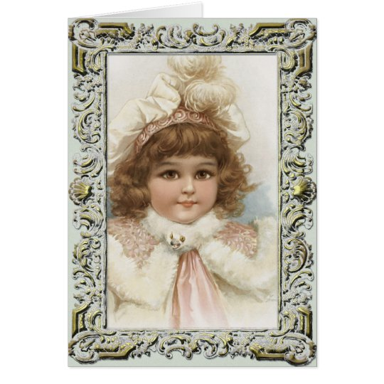 Vintage Girl in Winter Coat Christmas Card