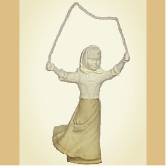 Vintage Girl Jump Roping Standing Photo Sculpture