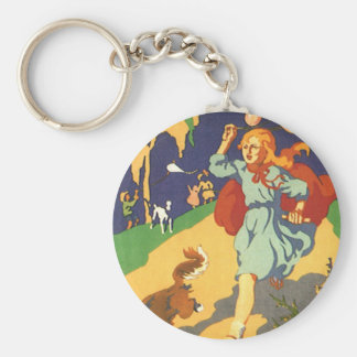 Vintage Girl Little Red Riding Hood Birthday Party Basic Round Button Key Ring