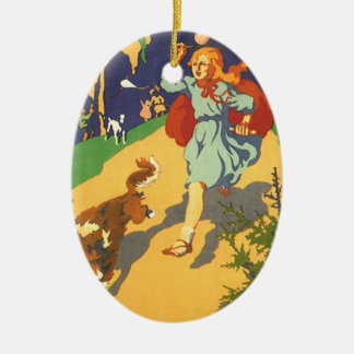 Vintage Girl Little Red Riding Hood Birthday Party Christmas Tree Ornament