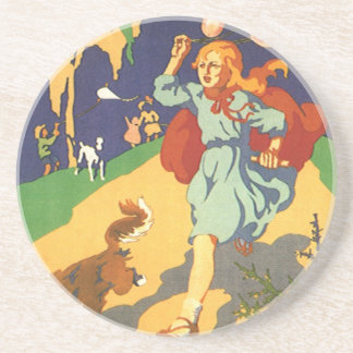 Vintage Girl Little Red Riding Hood Birthday Party Drink Coasters
