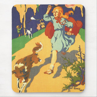 Vintage Girl Little Red Riding Hood Birthday Party Mousepad