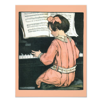 Vintage Girl, Music, Piano, Jessie Willcox Smith Announcement