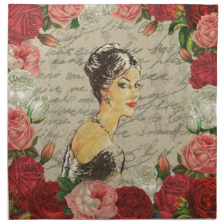 Vintage girl napkin