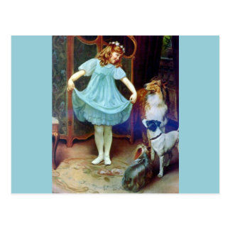 Vintage Girl New Dress Collie pet dogs Postcard