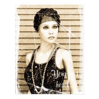 Vintage Girl, Old Photo Effect Postcard