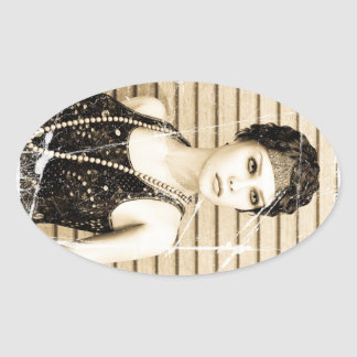Vintage Girl, Old Photo Effect Oval Stickers