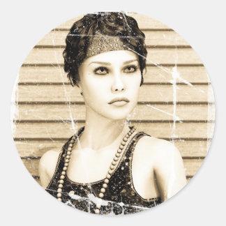 Vintage Girl, Old Photo Effect Sticker