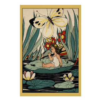 Vintage girl on lily pad flowers, butterfly poster