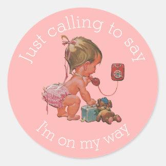 Vintage Girl on Phone Baby Shower Round Sticker
