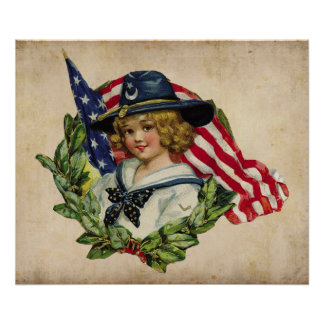 vintage girl patriot with flag poster