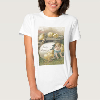 Vintage Girl Playing With Chicks Easter Card Shirt