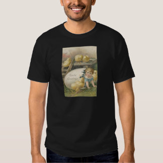 Vintage Girl Playing With Chicks Easter Card Tshirts