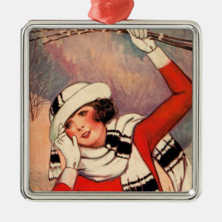 Vintage Girl Pussy Willows Winter Scarf Red Christmas Tree Ornaments