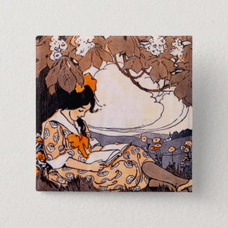 Vintage Girl Reading Under a Tree 15 Cm Square Badge