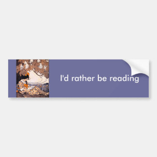 Vintage Girl Reading Under a Tree Bumper Sticker