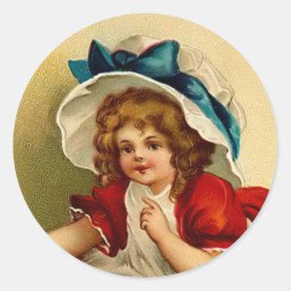 Vintage Girl Round Sticker