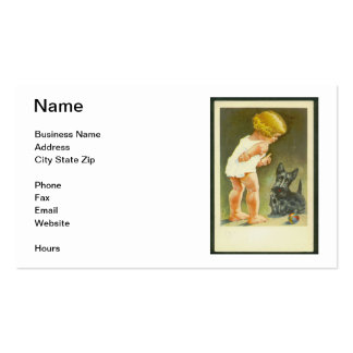 Vintage Girl & Scottish Terrier Business Card