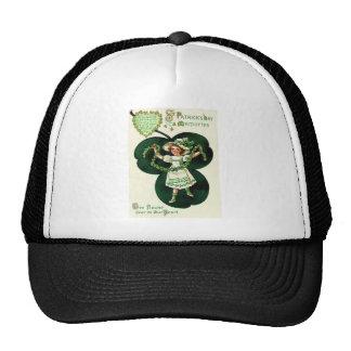 Vintage Girl Shamrock Garland St Patrick's Day Car Cap