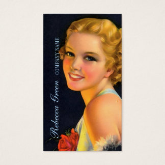 vintage girl SPA beauty hair salon makeup artist Business Card
