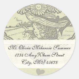 Vintage Girl Sunflower Return Address Label Round Stickers
