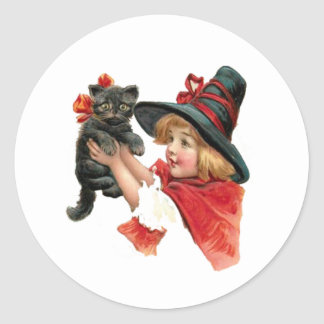 Vintage Girl Witch with Kitten Classic Round Sticker