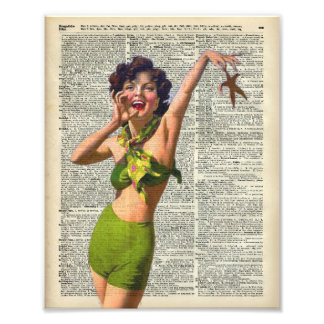 Vintage Girl with a starfish Photo Art