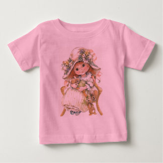 VINTAGE GIRL WITH BUNNYS TODDLERS SHIRT