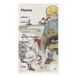 Vintage Girl with Chickens Business Card Templates