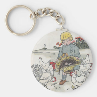 Vintage Girl With Chickens, E is an Egg Basic Round Button Key Ring