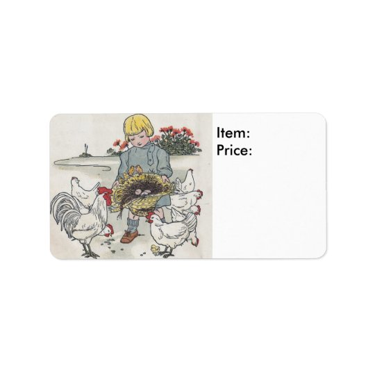 Vintage Girl With Chicks Pricing Sticker Address Label
