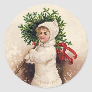 Vintage Girl with Christmas Tree, Ellen Clapsaddle Classic Round Sticker