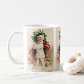 Vintage Girl with Christmas Tree, Ellen Clapsaddle Coffee Mug