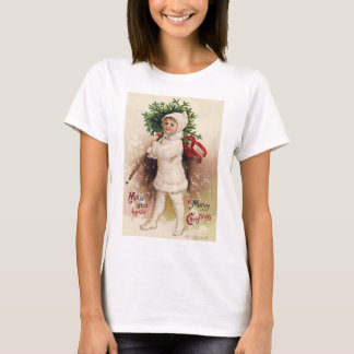 Vintage Girl with Christmas Tree, Ellen Clapsaddle T-Shirt
