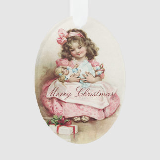Vintage Girl With Doll Ornament