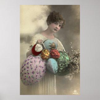 Vintage girl with Easter egg basket print