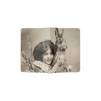 Vintage girl with giant Easter bunny Passport Holder