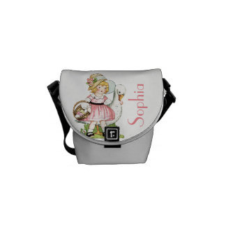 Vintage Girl with Goose Graphic Customisable Commuter Bag
