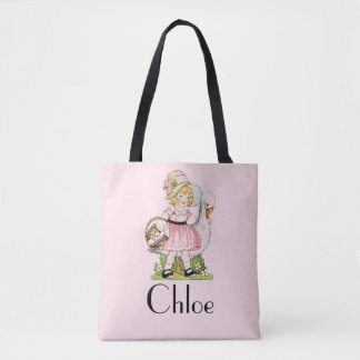 Vintage Girl with Goose Pink Customisable Tote Bag