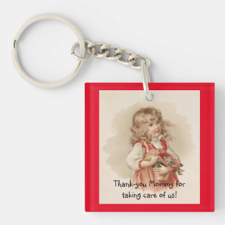 Vintage Girl With Kitten Single-Sided Square Acrylic Key Ring
