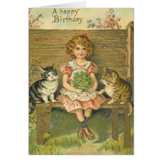 Vintage Girl with Kittens Birthday Card