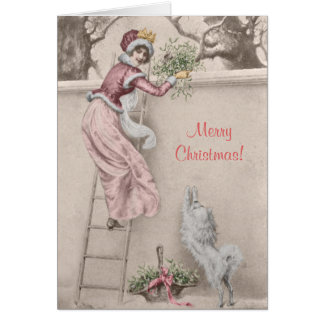 Vintage girl with mistletoe and dog Christmas Card