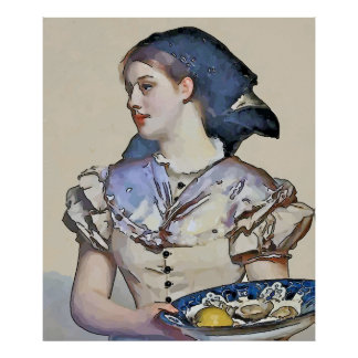 Vintage Girl with Oysters Poster